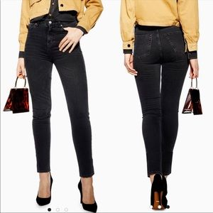 New TOPSHOP Orson High Waisted Washed Black Jeans